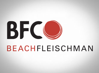 BeachFleischman logo on grey background.